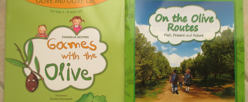 Covers of books for tourist children about olive oil