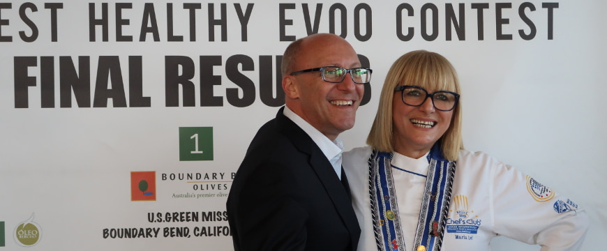 Maria Loi and Dr. Stefanos Kales at the World Healthy EVOO Contest awards ceremony in 2017
