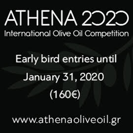 A black square with the following white text showing: ATHENA 2020 International Olive Oil Competition early bird entries until January 31, 2020 (160 euros) www.athenaoliveoil.gr