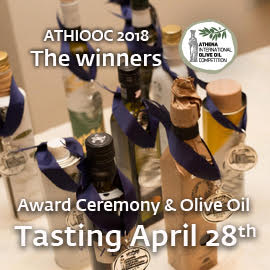 Athena International Olive Oil Competition logo, web link, bottles with medals, and text saying