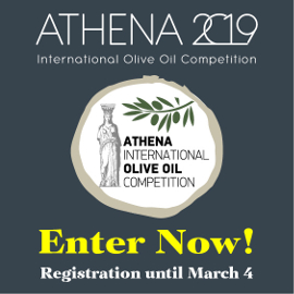 Athena International Olive Oil Competition 2019 logo with a small goddess and olive branch drawing, and text saying