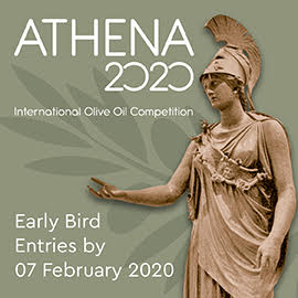 A gray square containing a statue of the goddess Athena and the following white text: ATHENA 2020 International Olive Oil Competition early bird entries by 07 February 2020