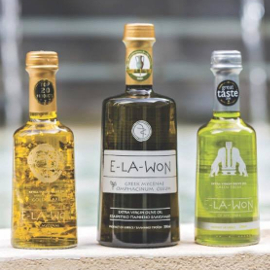 three different Elawon olive oil bottles in a row