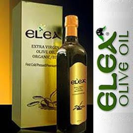 Elea olive oil bottle, box, and logo