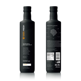 2 black GAEA Fresh bottles next to each other, showing the front of one and all the information on the back of the other