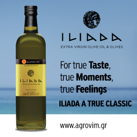 The words Iliada extra virgin olive oil and olives, for true Taste, true Moments, true Feelings, Iliada a true classic, with a dark green bottle of Iliada olive oil on the left