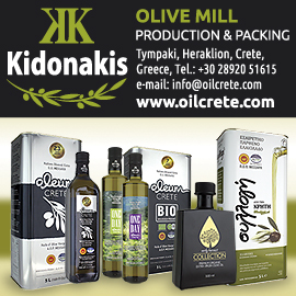 Kydonakis Olive Mill production and packing logo, contact information, and a photo of their olive oil products and a link to their website, www.oilcrete.com