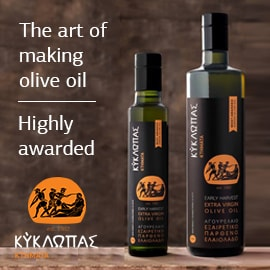 Two bottles of Kyklopas olive oil to the write of the words