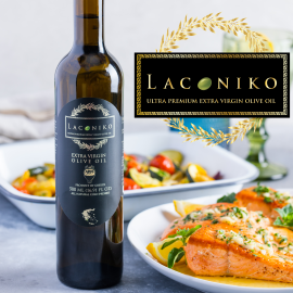 A square banner with a bottle of Laconiko extra virgin olive oil near white plates of salmon and vegetables, and the Laconiko logo