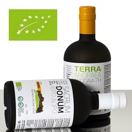 Two bottles of Sacrum Donum and Terra Anopaea olive oil, one upright and one in front of it, on its side, with a green rectangle containing a leaf shape formed by white stars in the upper left corner