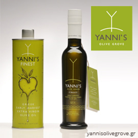 Yanni's Olive Grove tin, bottle, and logo