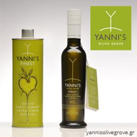 Yanni's Olive Grove tin, bottle, and logo