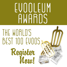 banner reading EVOOLEUM Awards, the world's best 100 EVOOs, register now