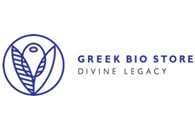 A blue logo on a white background, with the words Greek Bio Store Divine Legacy, and a circle with an olive and leaves to the left