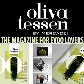 banner reading Olivatessen by Mercacei the magazine for EVOO lovers (with images of the magazine)