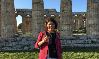 Cristina Stribacu of LIA at the archaeological site of Paestum