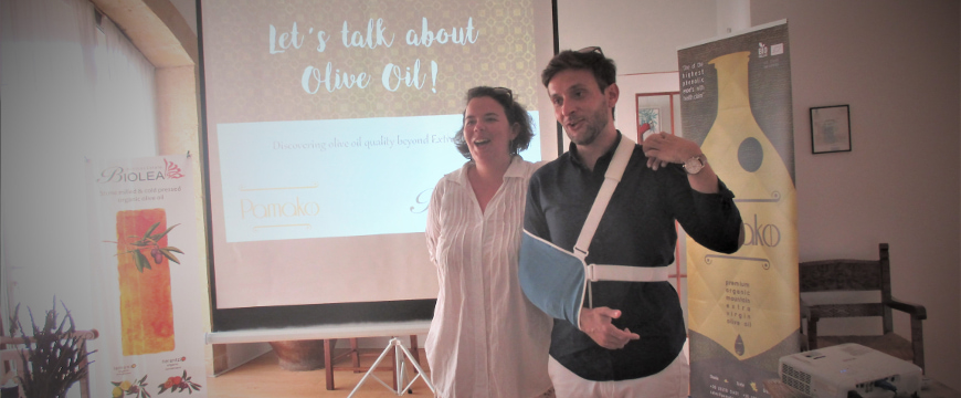 Chloe Dimitriadis and Eftychis Androulakis during their seminar on olive oil, inside Biolea's event venue