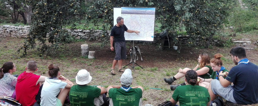 Tasos Anestis teaching students outdoors