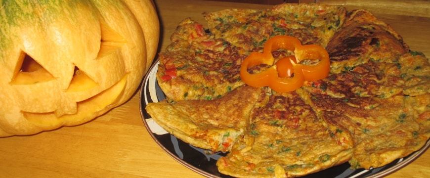 carrot onion parsley frittata with jack o' lantern