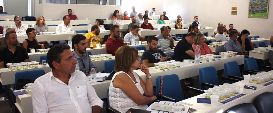 The audience for a seminar at the Chania Chamber of Commerce in Crete