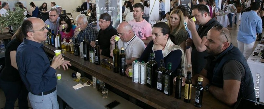 olive bar at the Gourmet Exhibition where visitors learned from experts about olive oil tasting