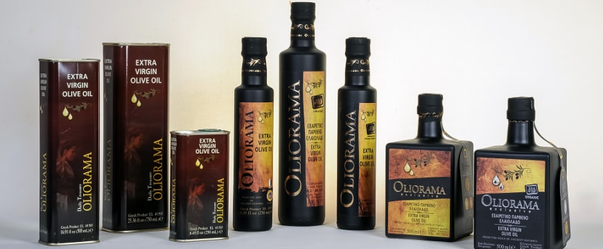 Oliorama olive oil tins and bottles lined up in a row