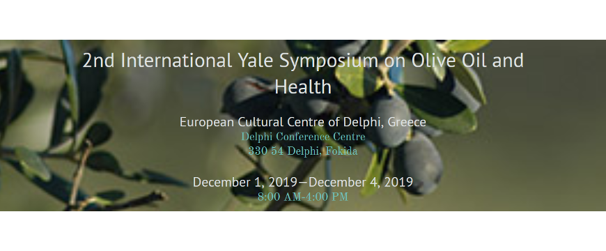 "The words ""2nd International Yale Symposium on Olive Oil and Health"" with olive branches behind them"