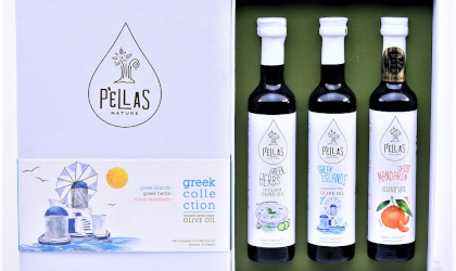 Pellas Nature Greek Collection gift box, showing three bottles of flavored olive oil in an open decorative box