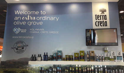 the wall of the Terra Creta booth at SIAL Paris, with their motto, products, and SIAL Innovation finalist notice