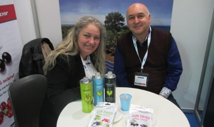 Yannis, Evi, and their products at the Food Expo in Athens, 2017
