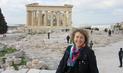 Alexandra Devarenne in front of the Acropolis in Athens