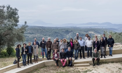 Athena IOOC judges outside, in front of olive groves and hills in Messinia, Greece