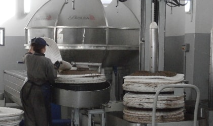 Chloe Dimitriadis preparing olive paste for pressing on a pile of white pressing filters, in front of Biolea's stone mill