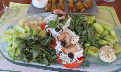 Mixed salad featuring local products, Botanical Park restaurant in Crete