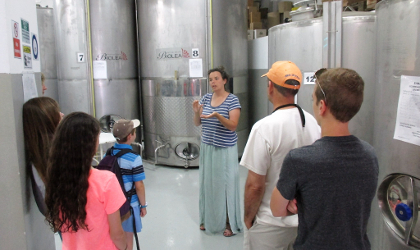 Chloe Dimitriadis discussing the traditional olive oil production process with tourists