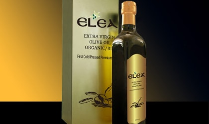 Elea olive oil bottle and box
