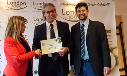 Eleni Melliou, Pantelis Fanourgakis, and Prokopios Magiatis at the London IOOC Awards Ceremony