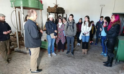 Irini Kokolaki and her classmates in an olive mill or museum in Jaen, Spain