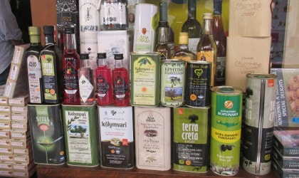 a variety of Greek olive oils
