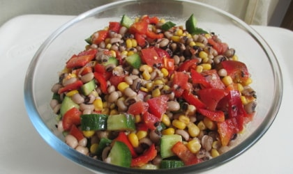 black eyed pea salad in a glass bowl