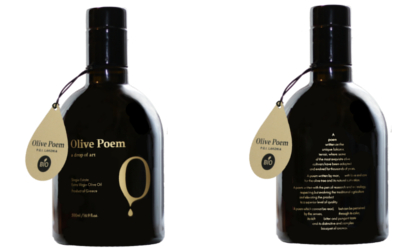 the front and back of dark glass bottles of Olive Poem brand extra virgin olive oil