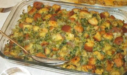 stuffing with olive oil and herbs