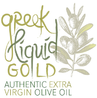 Greek Liquid Gold: Authentic Extra Virgin Olive Oil logo with olive branch