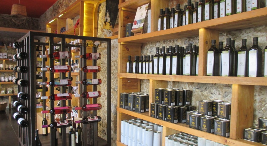 Creta Earth shop in Plakias, with olive oil and wine bottles displayed