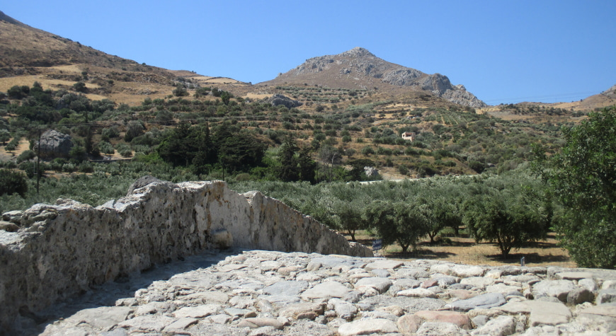 olive groves beyond the top of a stone bridge