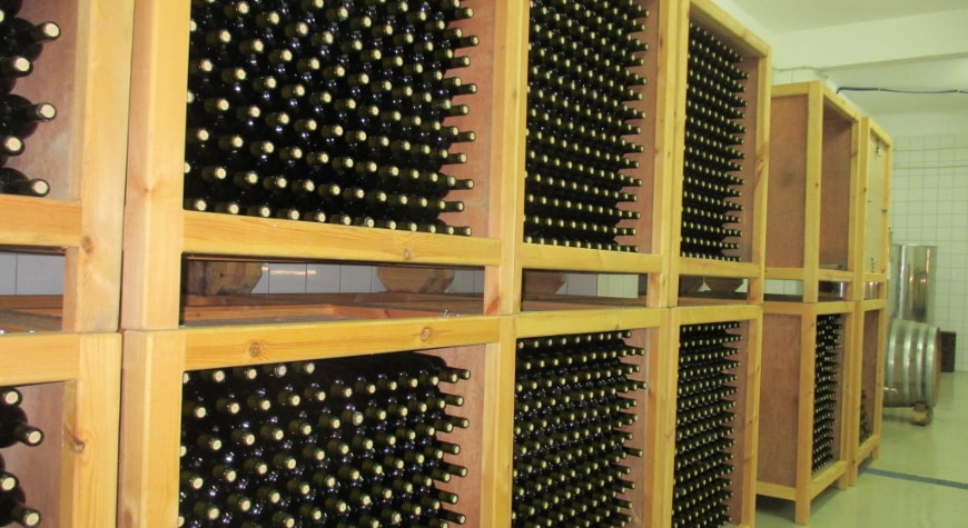 racks of bottles in Anoskeli winery