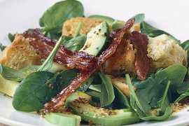 Bacon, avocado and spinach salad
