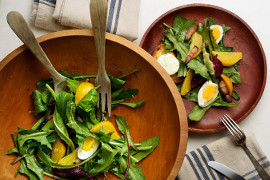 Dandelion salad with beets, bacon, and goat cheese toasts