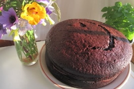 two-layer fudge cake between wildflowers and basil