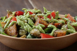roasted vegetable salad with avocado dressing